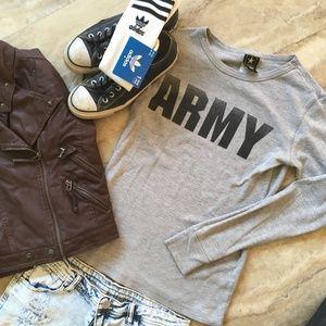 Tops - Long Sleeve Gray Thermal Army Shirt